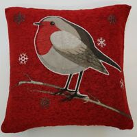"CHRISTMAS ROBIN THICK RED VELVET GLITTER SPARKLES 18"" CUSHION COVER £5.99 EACH"