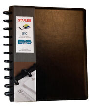 """Staples arc customizable notebook system 8.5"""" x 11"""" b lack faux leather 2020 new"""