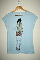 Fashionable Women's T-Shirt Casual Top Light  Blue Sleeveless Summer Size M
