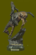 Signed Remington Native American Indian Riding Horse Bronze Sculpture Statue Art