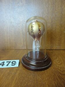 Gold Art Glass Hot Air Balloon Ornament - Wooden Plinth & Glass Dome