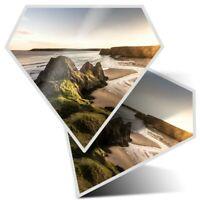 2 x Diamond Stickers 7.5 cm - Three Cliffs Gower Peninsula Wales  #16374