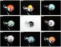 Natural Gemstone Round Ball In Palm Reiki Chakra Healing Pendant Dangle Beads