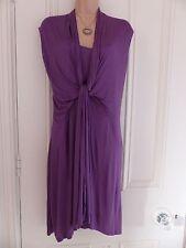 Magnifique BNWT sans manches violet drapé Collection Zara Taille M Soyeux Robe en jersey