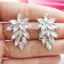 Gorgeous Bride Flower Cluster Silver-tone Dangle Earrings Austria Crystal Clear