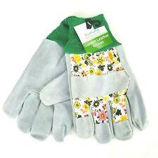 True Living Outdoor Garden Bovine Leather Gloves Lawn Yard Work Floral Print NWT