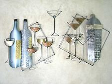 """Three Part Signed Curtis Jere Wall Sculpture """"Cocktails""""; Martini & Wine Glasses"""
