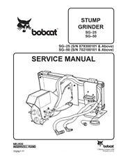 New Bobcat Stump Grinder SG25 SG50 Repair Service Manual 6900892 Free Shipping
