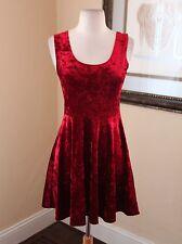 Red Crushed Burnout Velvet Skater Dress Size M Goth Grunge Mini Forever 21