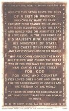 POSTCARD  MILITARY  LONDON  WESTMINSTER  ABBEY  The Grave of the Unknown Warrior