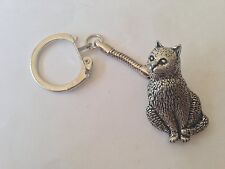 Pewter on a snake keyring Handmade A15 Cat made of fine English