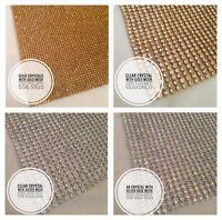 Iron on Hot Fix Chaton Diamante Rhinestone Silver Gold Crystal & AB Strips