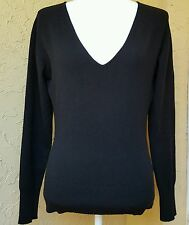 Pure Collection 100% Cashmere V neck  Black Sweater/ PullOver Size 14 Med/Large