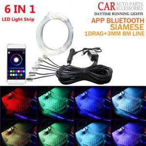 8 Meters Car Interior Ambient Light RGB LED Neon Strip Bluetooth Phone APP 6in1