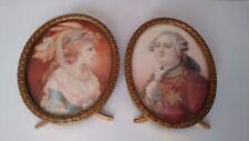 Antique French Rare Miniature Portrait Pair Louis XVI & Marie-Antoinette signed