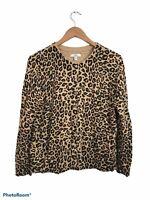 Croft & Barrow Beige Long Sleeve Button Up Cheetah Cardigan Sweater Petite Large