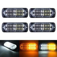 4pcs 20 LED Strobe Lights Emergency Flashing Warning Beacon Amber/White 12V 24V