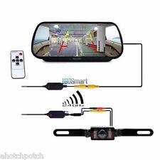 "7"" LCD Screen Car Rear View Backup Mirror Monitor+Wireless Reverse IR Camera Kit"