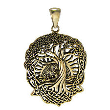 BronzeCeltic Knot World Tree of Life Pendant with Rising Sun Knotwork Jewelry
