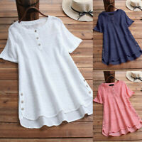 Women V Neck Long Sleeve Floral Loose Tops Casual Plain Tee Shirt Blouse Tunic