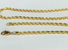 18k Solid Yellow Gold unisex Italian Rope Chain Necklace, 18inches, 7.40Grams
