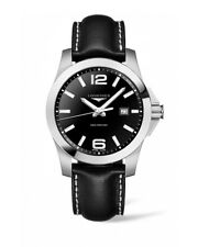LONGINES Conquest Black Dial Leather Mens Diver Watch L37604563 -BRAND NEW