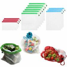 US Reusable Mesh Produce Bags Vegetable Fruit Toys Storage Organizer Bags 12Pcs