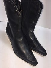 A.n.a Womens Black Leather Western Boots 11 Inch Size 8.5 Rubber Comfort Sole