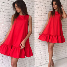 Women Summer Sleeveless A Line Bodycon Mini Dress Casual Loose Cocktail Sundress