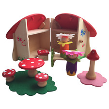 NEW Fairy Toadstool Playset Travel Kids Toy Pretend Play Wooden House Fun