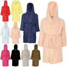 Kids Boys Girls Cotton Soft Terry Hooded Bathrobe Luxury Dressing Gown 2-13 Year