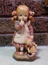 "Anri Sarah Kay Bedtime - 6"" Carved Wood Figurine - 2468/4000 - Italy"