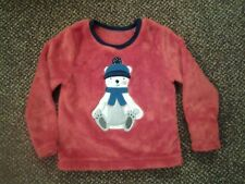 KIDS - RED LONG SLEEVE VELOUR STYLE PATTERNED FRONT TOP - AGE 2-3 YEARS