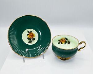 Elizabethan England Bone China Green Tea Cup & Saucer Yellow Rose With Gold Trim