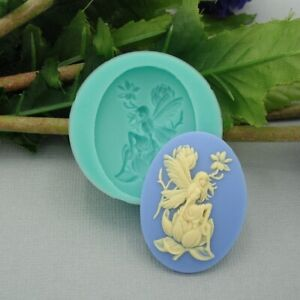 Silicone Mold Cameo Fairy Sitting on Magnolia for Jewelry,Resin,Polymer Clay.