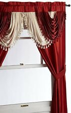 Luxurious AMORE Panel w attached valance 5 pc.window curtain set  burgundy