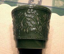 HAEGER USA Stamped No 1 Vintage Green Vines Glazed Porcelain Bowl Flower Pot SR
