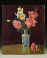 Signed Marion H Miller Pastel Still Life Painting Flowers in Vase