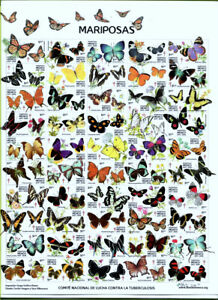 MEXICO - BUTTERFLIES, SHEET OF 50 DIFFERENT TUBERCULOSIS STAMPS - MNH