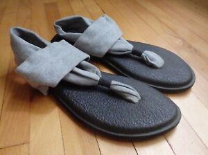 Sanuk Womens US 9 Yoga Sling Gray Flip Flop Thong Sandals Boho Yoga Mat 40