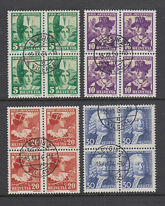 Switzerland Sc B65-B68 used 1933 Semi-Postals, complete in Blocks of 4, VF