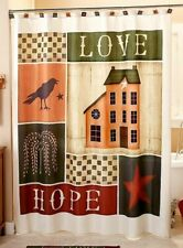 Fabric Shower Curtain Homestead Country Farmhouse Live Laugh Love Primitive Bath