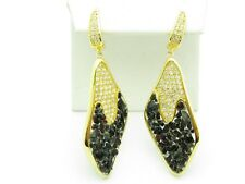 18KT GOLD STERLING SILVER UNIQUE WHITE SAPPHIRE BLACK ONYX LEVER DESIGN EARRINGS