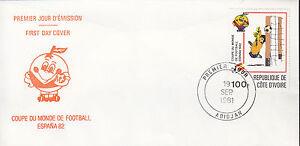 01141+  FDC ENVELOPPE 1er JOUR COTE D'IVOIRE FOOT COUPE DU MONDE FOOT ESPANA 82