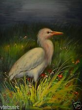 "Oil Painting On Stretched Canvas 12"" x 16""-White Heron BIRDS ANIMALS"