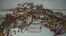 "80"" Pip Berry Garland w/ Rusty Stars ~ BURGUNDY & GOLD"