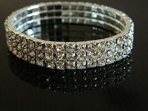 Rhinestones Strech Elastic Bracelet Bangle Wedding Prom Party Wrist Decor BB16