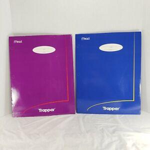 2 Vintage Trapper Portfolio Folders Blue & Pink Retro Mead 33100