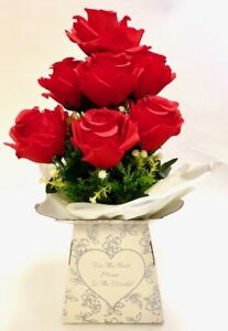"""Red Roses flowers in """"Best Mum""""presentation box artificial bouquet birthday gift"""