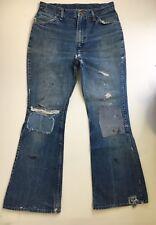 Vtg MAVERICK BELL BOTTOMS Denim Jeans 70s Scovill Zip Wrangler Patch USA 33x32